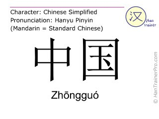 English translation of 中国 ( Zhongguo / Zhōngguó ) - China in Chinese